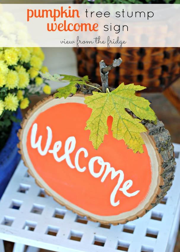 DYI Fall decor - Pumpkin tree stump welcome sign