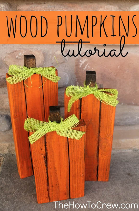DYI Fall decorations - Wood Pumpkins Tutorials