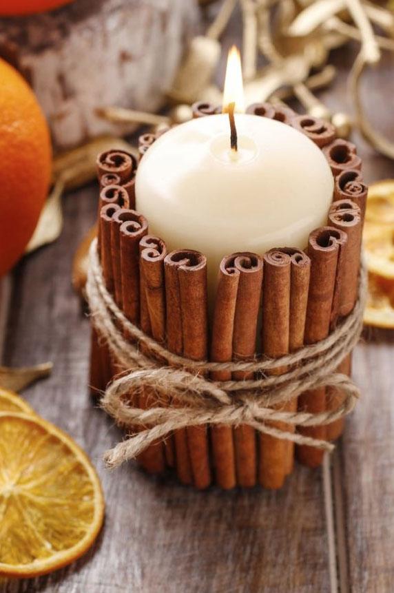 DYI Fall Decorations - Cinnamon Sticks Candle