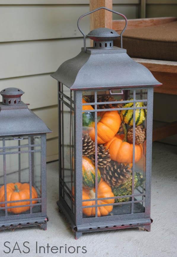 DYI Fall Decor - Pumpkin Porch Lamps