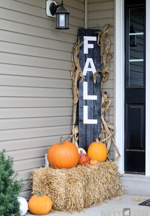 DYI Fall Decoration - Wood Autumn sign Porch