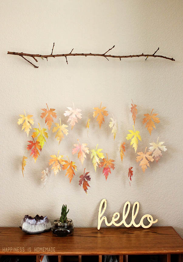 DYI Fall Decorations - Watercolor Paper Leaf and Branch Mobile