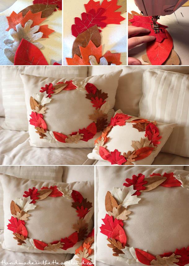 DYI Fall Decorations - Leaf Throw Pillows