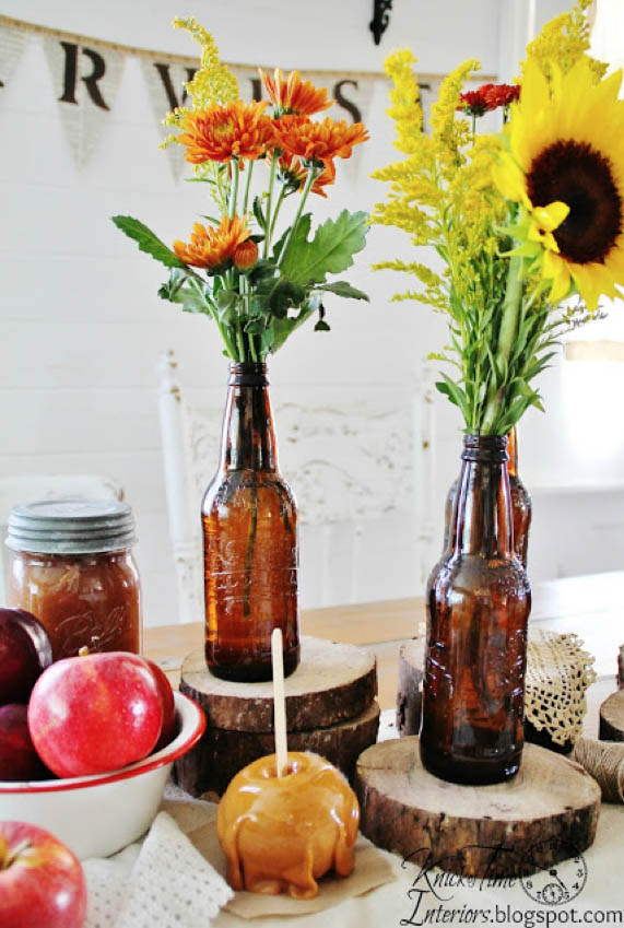 DYI Fall Decoration - Root Beer Bottle Centerpiece